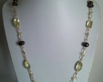 Lemon Quartz and Bronzite Chain Necklace