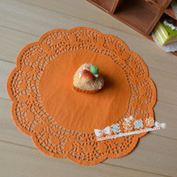 "NEW 12"" Super Large Pure Orange Paper Doily - 20pcs"