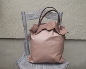Tote bag, genuine leather, military detail
