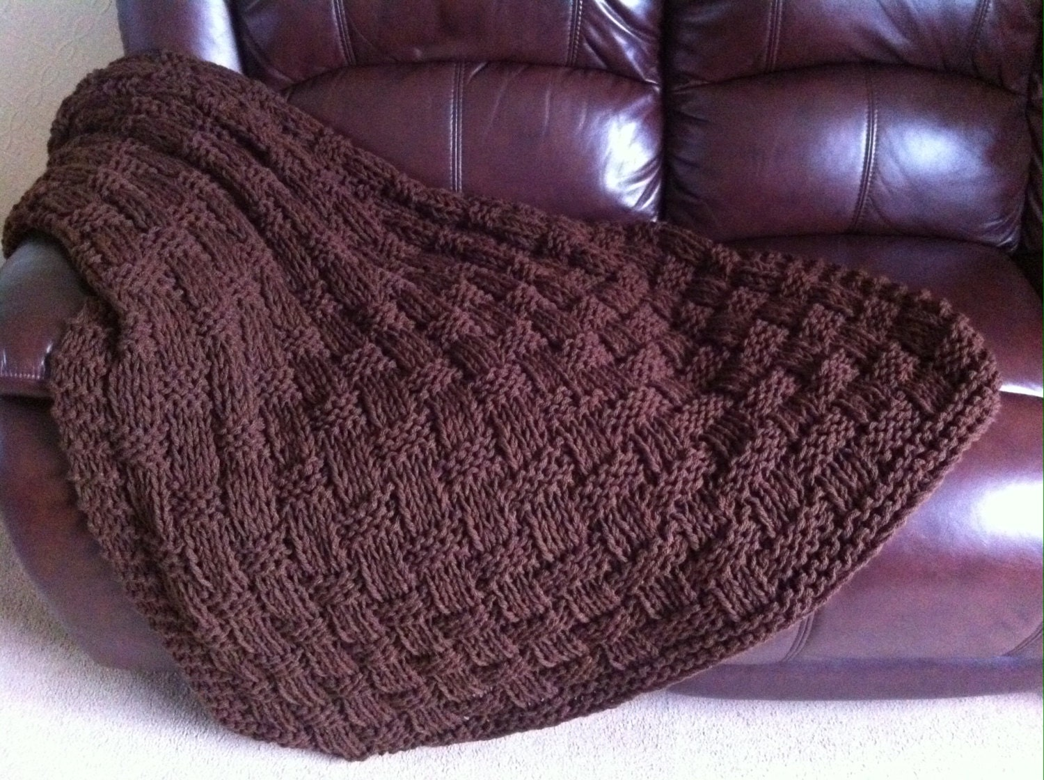 Knitting Pattern Blanket Throw : Chunky Basket Weave Blanket / Sofa Throw Knitting pattern