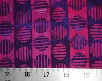 Robert Kaufman Fabric, Geoscapes 3, Grape, Purple & Red Circle / Stripe Batik, 100% cotton