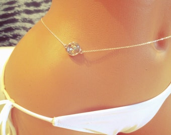 Silver Diamond Belly Chain