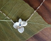 Hydrangea Blossom Sterling Silver Pendant Necklace with Sapphire center stone