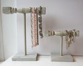 Necklace Holder and Bracelet Holder Set of 2- Recycled Architectural Salvage - Shabby White & Grey - Limited Edition LAST SET