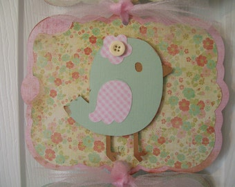 Baby Girl Hospital door Sign-Baby Girl Shower Banner- Birdie Theme Girl Baby Shower- 3 cards