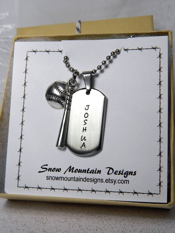 Baseball Necklace, Personalized Dog Tag Necklace for Boys, Boys Necklace, Boys Jewelry Hand Stamped, Sports Necklace, Ring Bearer Gift