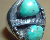 GIGANTIC Sterling Silver and Turquoise ring - size 10-3/4 HEAVY cast! - Vr017