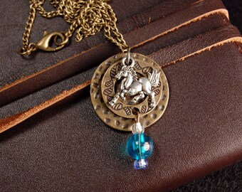 Prancing Horse Pendant in Antique Silver & Brass with Glass Beads