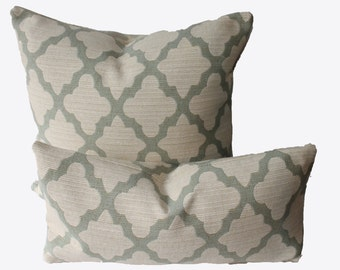 Decorative Quatrefoil Aqua Pillow, Trellis 18x18, 20x20, 22x22 or Lumbar, Lattice Throw Pillow