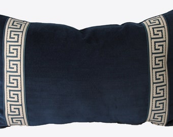 Decorative Cotton Velvet, Indigo Blue, Greek Key Chinoiserie Pillow, Lumbar Throw Pillow