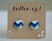 Blue Yellow and White Chevron Covered Button Earrings