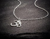 Om Necklace, Ohm Necklace,  Sterling Silver Necklace, Yoga Jewelry Necklace, Yen Jewelry,  Om Ohm chain