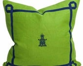 Green Pagoda Pillow || Green linen pillow with navy trim and pagoda Pillow-  20x20 Square Decorative Pillow Cover