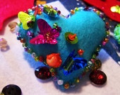 Blue Heart Christmas Ornament, Made of Colored Felt and Decorated with Crystal Beads,Butterflies and Colored Sequins,Unique Gifts Holiday