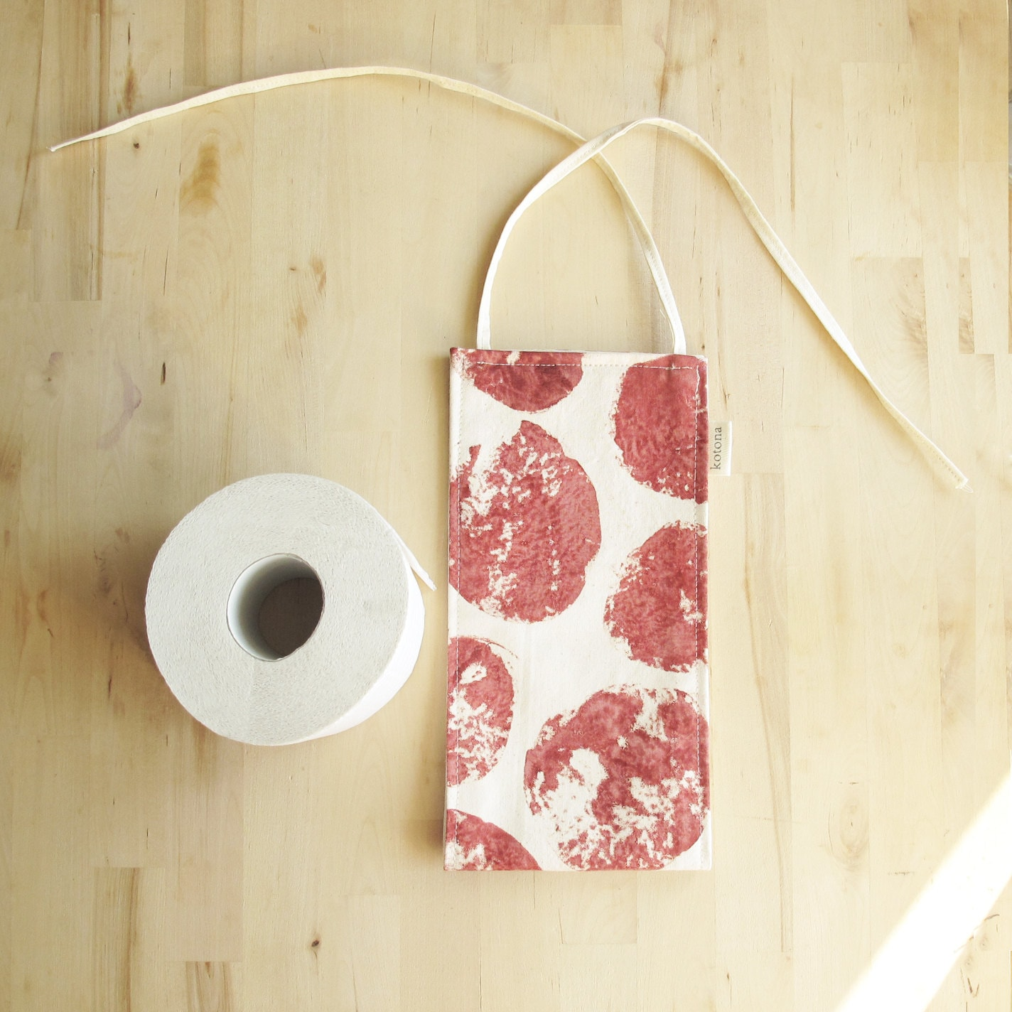 Extra Toilet Roll Holder Hand Printed Fabric Natural Cotton