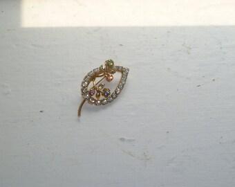 Rhinestone Brooch, Leaf and Flowers, Rhinestone Pin, Costume Jewelry, Mid Century Jewelry