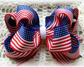 Flag Hair Bow....Red White Blue Hair Bow....Patriotic Hair Bow....Memorial Day Bow...July 4th Bow.