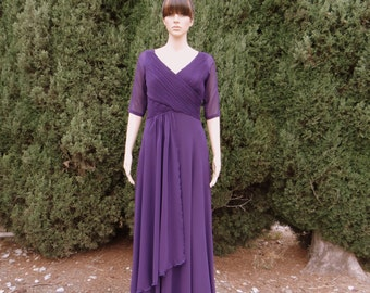 Dark Purple Long Dress. Prom Dress With Sleeves