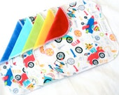 Clearance 10% Off! Cloth Wipes - Cotton Velour and flannel - Set of 5 or 6 - Baby Washcloths - Robot Car Rainbow