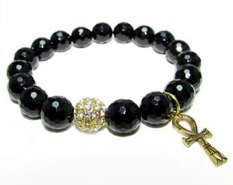 Golden Ankh Stretch Beaded Bracelet