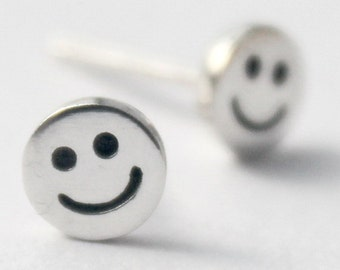 Tiny Sterling Silver Smiley Stud Earrings, Petit Statement, Great Christmas stockin,g Kids, Teenager