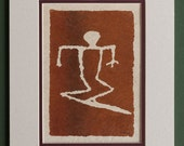 Surfboard - Hawaiian Petroglyph Design  on Tapa Cloth - Matted and READY TO FRAME