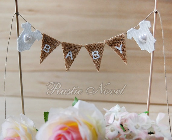 Baby Shower Cake Topper Burlap Cake Bunting Birthday Cake