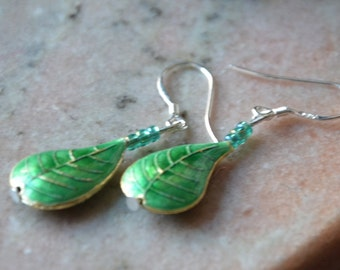 A Set of Cloisonne and Beaded Earrings - Green Leaves