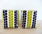 Small Canvas Storage Baskets - Stof of Denmark Pure Vine Stripe in Lime and Navy  - Set of 2 - Home Decor - Gift Basket