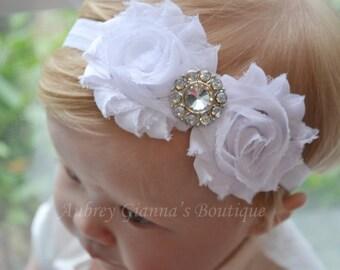 Baby White Christening headband, newborn headband, infant headbands, baby hair bow, white bow, baptism, christening, flower girl, headbands