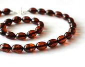 SALE 10 % OFF Dark Cognac Amber Olive Shaped Necklace & Bracelet Vintage Style Glamour Amber Cognac Jewelry