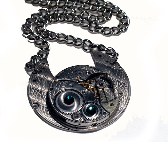 Steampunk Necklace, Exceptional Etched Elgin Timepiece, Emerald Green Swarovski Crystals