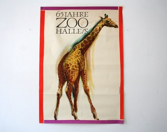 Original Zoo Advertising Poster - 1966 - Giraffe - Halle Germany - DDR