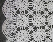 Vintage Hand crocheted Table Runner - white