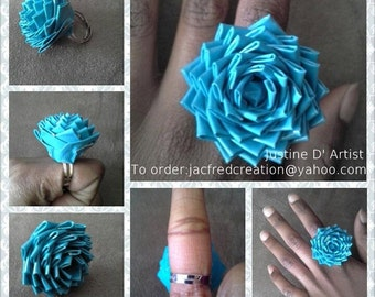Duct Tape Rose Ring ( With Metal Base )