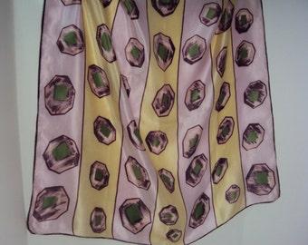 Satin Scarf Gems Olive Pale Purple and Light Yellow Silk Vintage Geometric Art Deco design 30s 40s Hand rolled edge