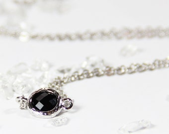 Black Stone and Silver Stacking Necklace - BridesMaid Gift - Gemstone Necklace