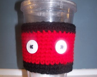Reusable Cup Cozy, Red And Black Cup Sleeve, Crochet To Go Cup Holder, Wrap for Straw Cup, Eco-friendly, Handmade