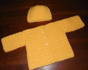 Yellow Baby Sweater and Hat Set, Crochet Infant Cardigan, Spring Sweater Set, Gender Neutral Shower Gift, Newborn, Easter