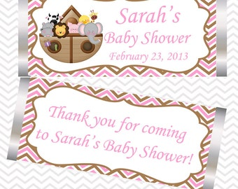 Noah's Ark Pink  - Personalized Candy Bar Wrapper