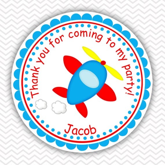 Airplane Birthday Party Favor Tags: Airplane Personalized Stickers Party Favor Tags Thank You