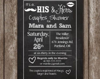 His & Hers Couple Shower//Chalkboard//Printable Invitation/Digital File