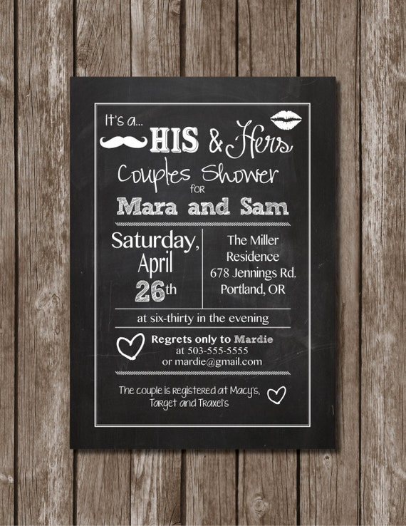 His & Hers Couple Shower//Chalkboard//Printable Invitation/Digital File
