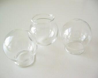 3 blown one hole glass terrarium pendant orb hollow globe 30mm