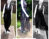 Vintage 50's 60's Evette Nightgown/Black Sheer Lace Halter Nightgown Lingerie Ladies Small
