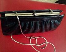 elegant judith leiber vintage black lizard kelly handbag