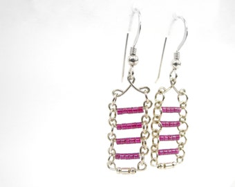 Silver and purple bars earrings