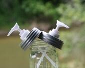 Soap Dispenser Kits - 1dozen of each - 1cc Plastic Pumps, Collar Rings, and Pre-Drilled Mason Jar Lids - Silver or Black Jar Lids