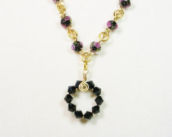 Lamp Work Black and Pink Rose Necklace, Swarovski Crystal and Lamp Work Necklace, Black and Gold Tone Necklace, Handmade Chain Necklace