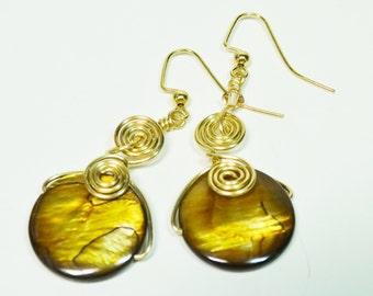 Pearl Wire Wrapped Earrings, Golden Pearl Dangle Earrings, Golden Pearl Coin Earrings, Coin Earrings